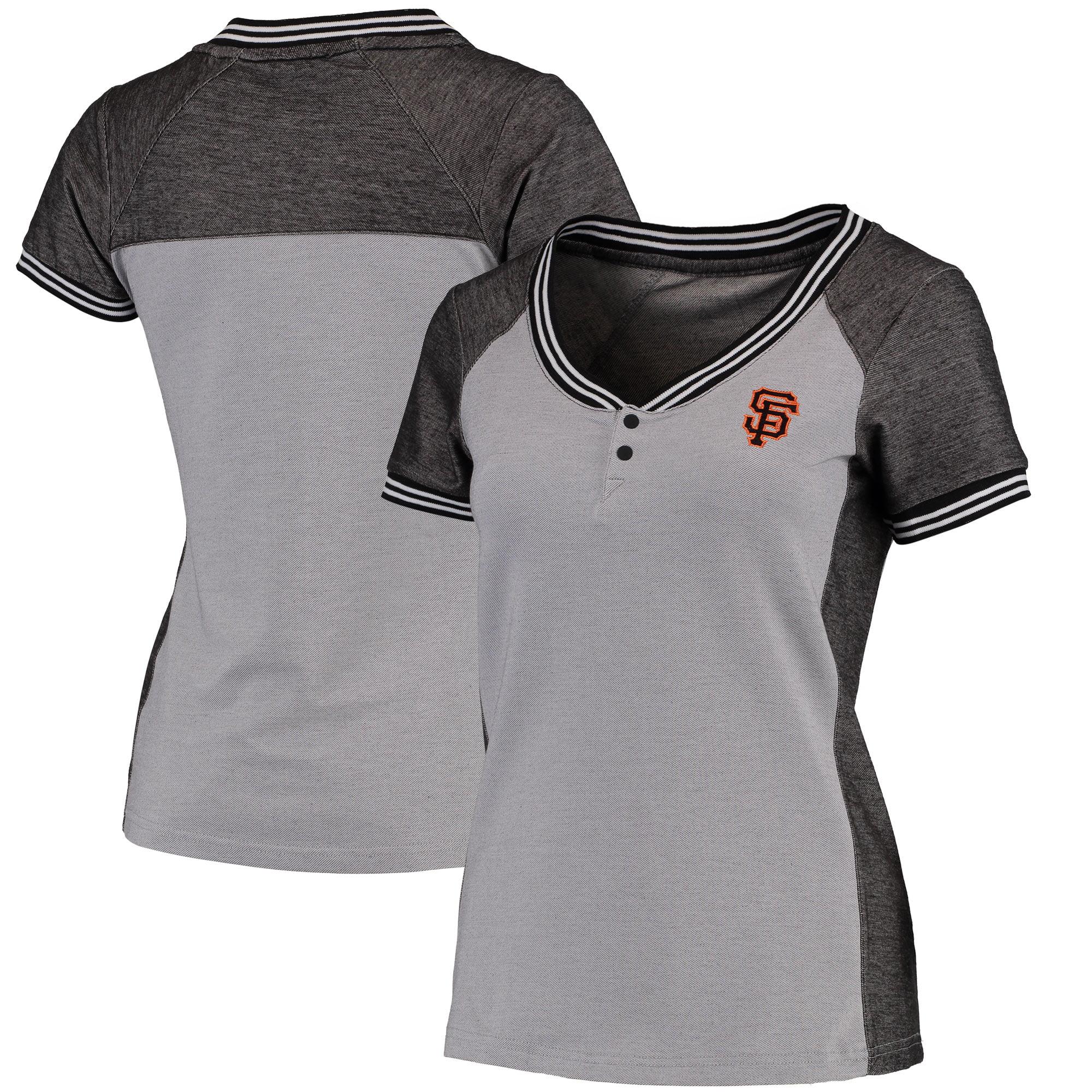 San Francisco Giants Antigua Women's Quick Henley T-Shirt - Gray/Black