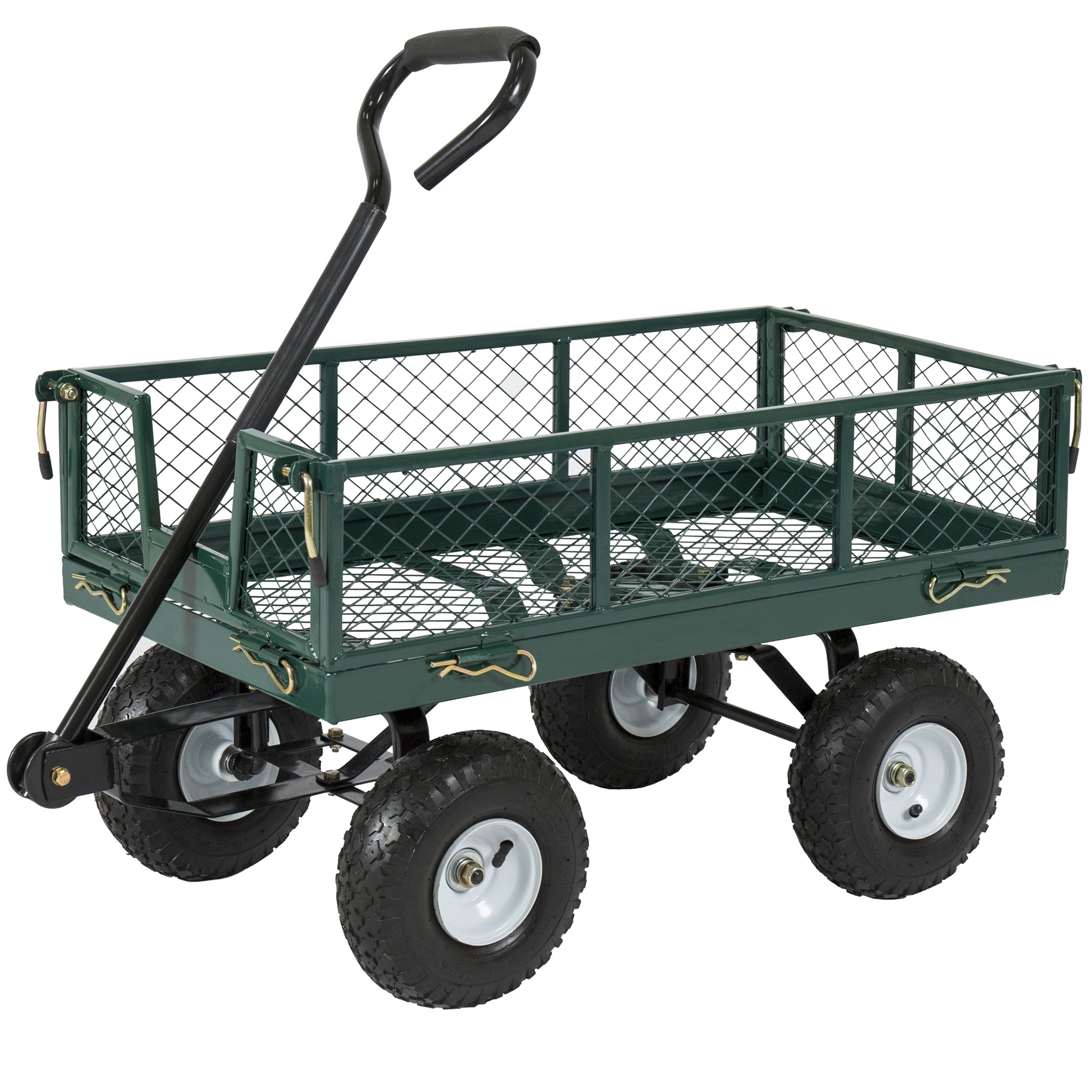 best choice products utility cart wagon lawn wheelbarrow steel trailer 400lbs