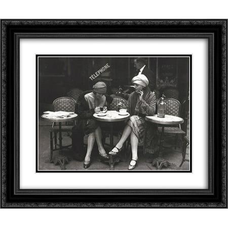 Cafe et Cigarette, Paris, 1925 2x Matted 16x14 Black Ornate Framed Art Print by Roger Viollet