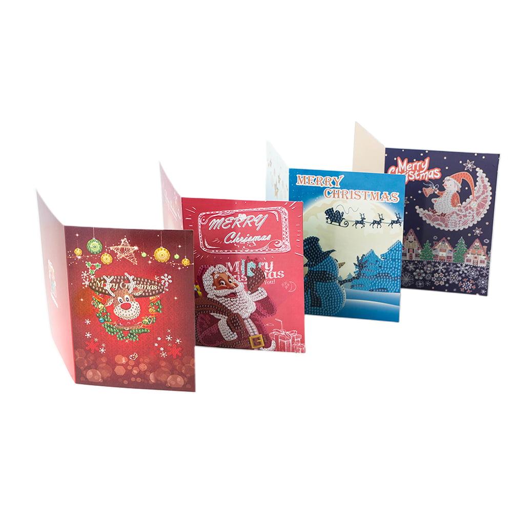4pcs Merry Christmas Cards Diy Diamond Painting Christmas Greeting Cards Handmade Crafts Gifts Walmart Canada