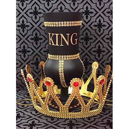 Prom Invitation Ideas (King Birthday Black and Gold Rhinestone Goblet with Crown Cup Prom Birthday Keepsake Gift)