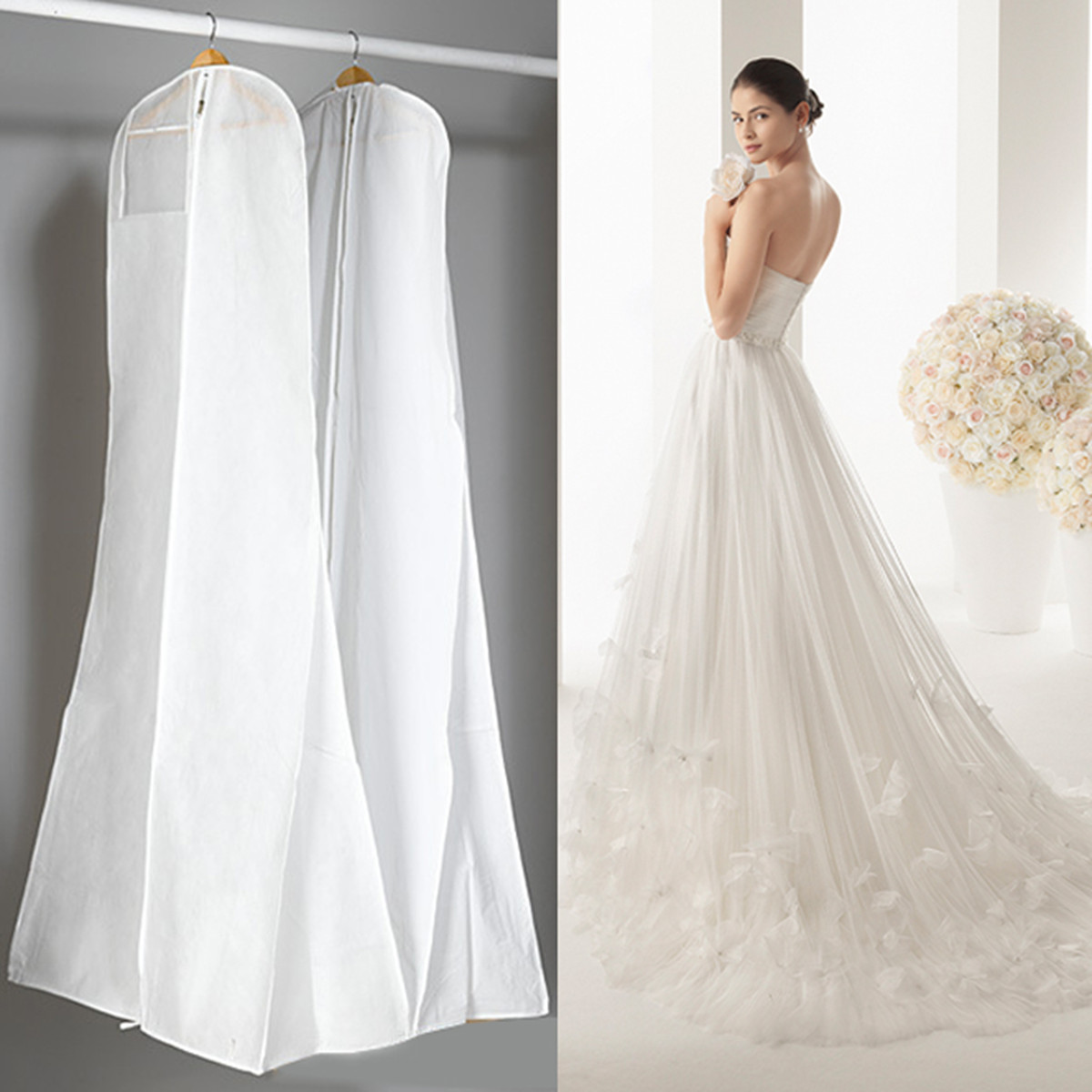Meigar Breathable Dress Cover Bag Non-wowen Anti-dust Wedding Dress Gown Garment Bag Storage Protector Cover with Clear Zipped Pocket