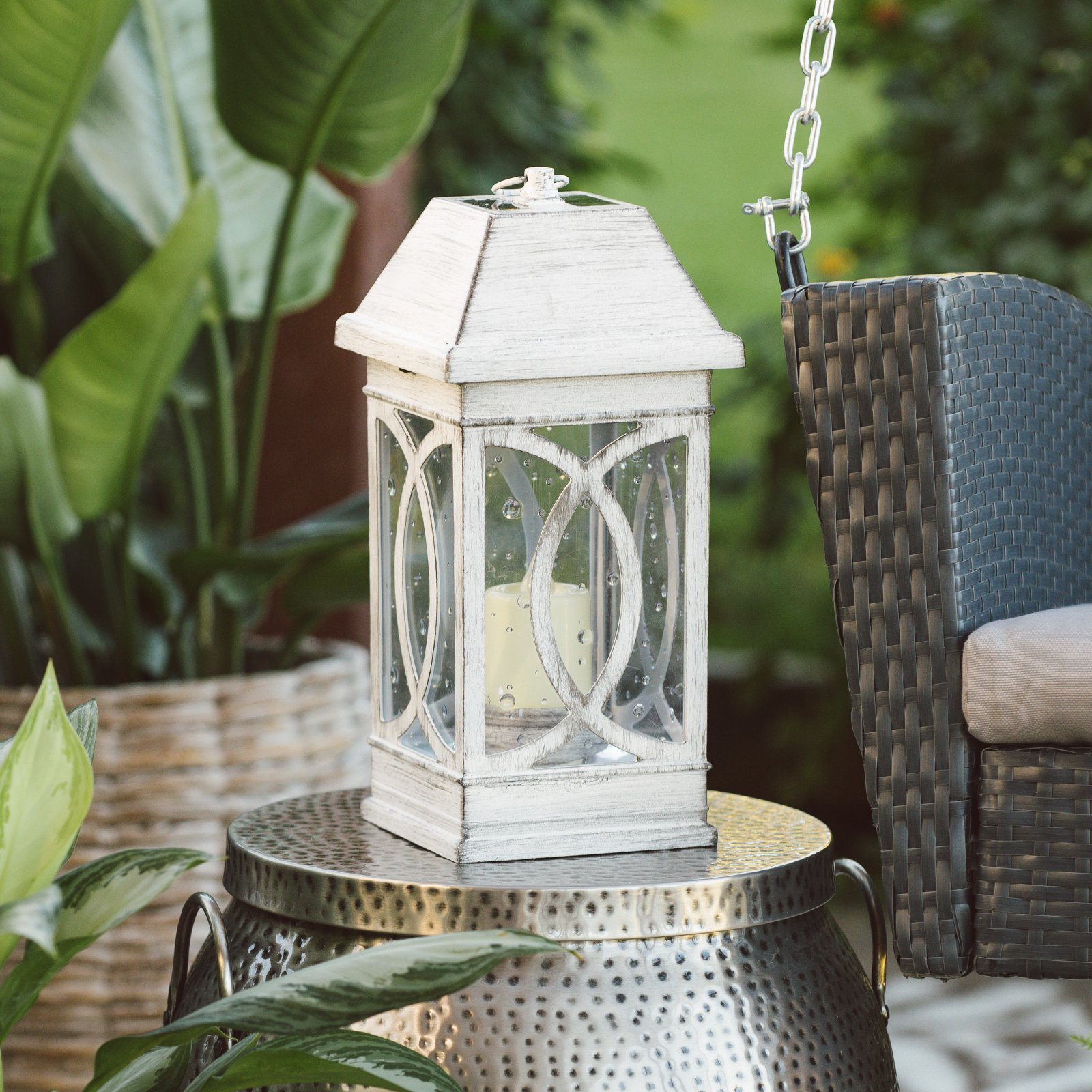 Belham Living San Vicente Estate Solar Lantern 15 in. - Distressed White