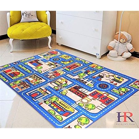 Kids Car Road Rugs City Map Play Mat For Classroom Baby Room Non