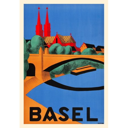 The Rhine River serpentines urbanely through the Swiss city of Basel with its medieval old town center on the south bank depicted on this poster from artist Hedwig Meyers north bank vantage point The (Party City North Point)