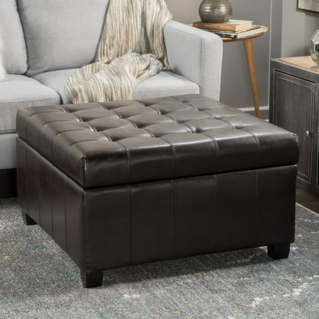 Fantastic Alondra Brown Bonded Leather Storage Ottoman Caraccident5 Cool Chair Designs And Ideas Caraccident5Info