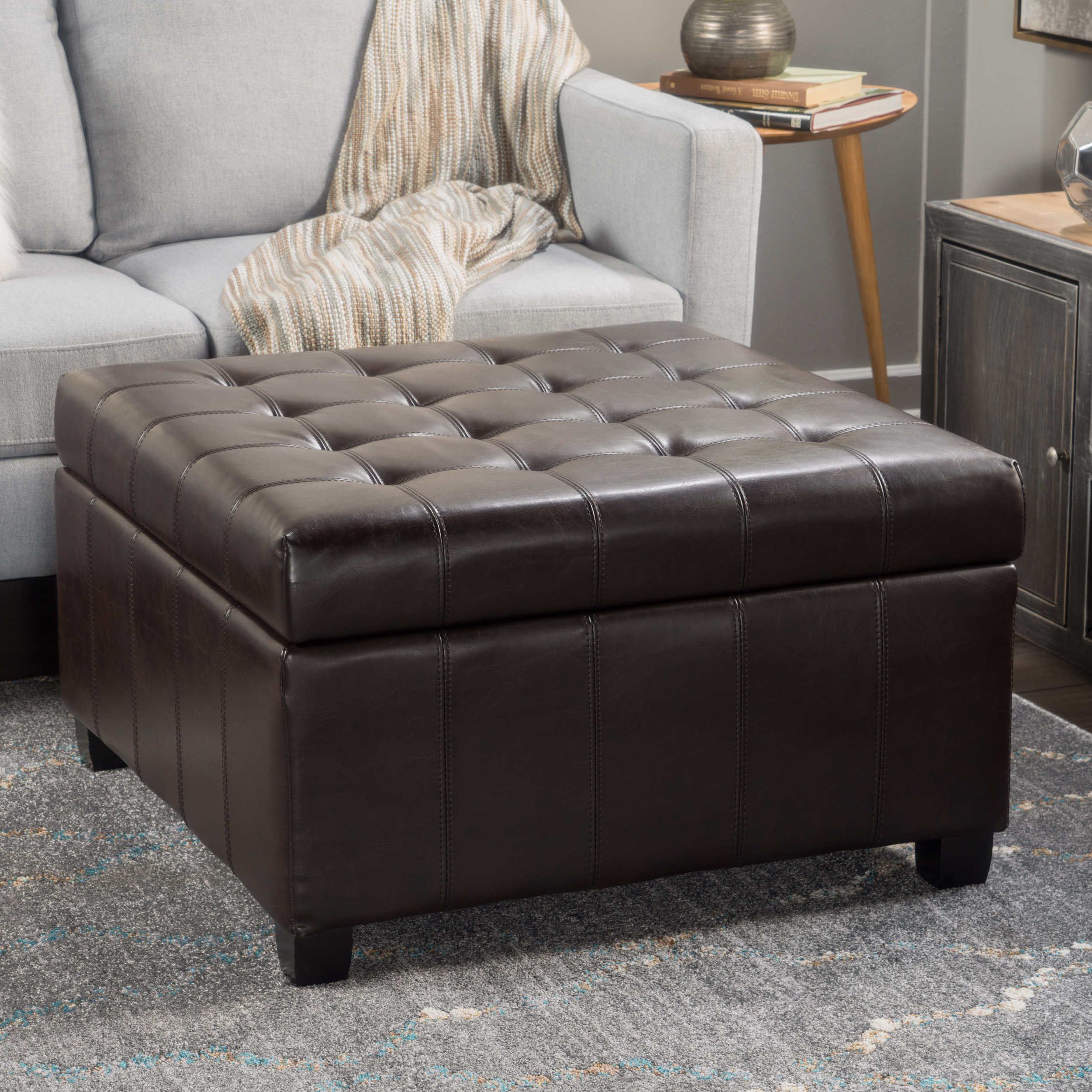 Alondra Brown Bonded Leather Storage Ottoman