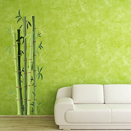 Bamboo Bushes Wall Decal - Floral Wall Decal, Plant Sticker, Vinyl Wall Art, Green Bamboo Decor - DS 914 - 12in x 33in