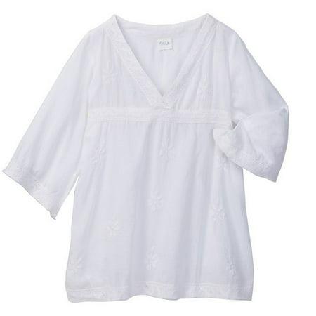Azul Little Girls White Lace Detail Renaissance Bell Sleeve Tunic