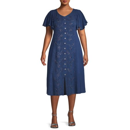Studio West Womens Plus Size Rayon Midi Dress Flutter (Women's Plus Size Fancy Dress)