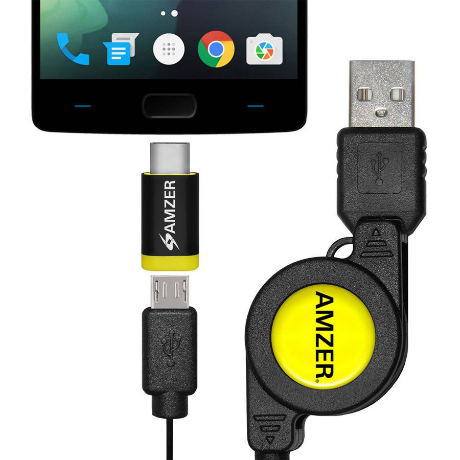 Amzer microUSB Retractable Data Cable with Type-C Adapter