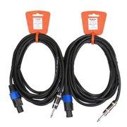 "Podium Pro 2TSSP15 Set of Two 15' Pro Audio 12 Gauge Speaker Cables Male Speakon Jack to Male 1/4"" Jack"