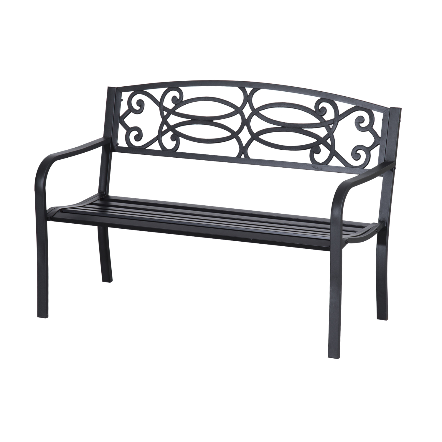 """Outsunny 50"""" Flowering Pattern Decorative Patio Garden Bench"""