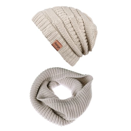 4c843a72c98 Winter Cable Knit Beanie Hat Infinity Scarf Set