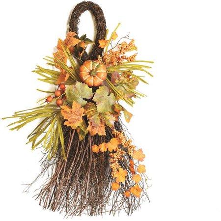 Northlight Seasonal Autumn Harvest Decorative Artificial Pumpkins Berries and Leaves Teardrop Door Swag