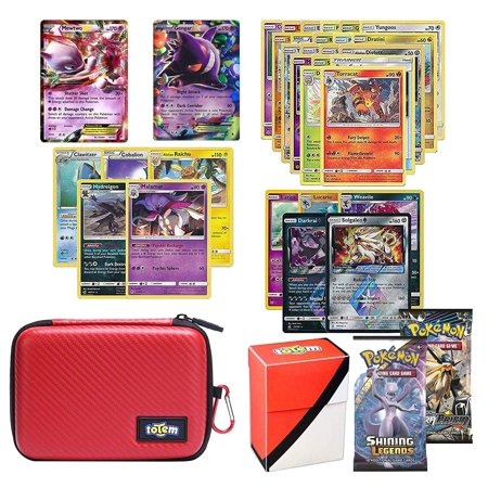 Totem World Pokemon Cards EX Lot with Poke Ball Theme Card Case, 2 Pokemon EX Cards Guaranteed, Plus 2 Booster Pack, 5 Rares, 5 Holos, 20 Regular Pokemon Cards, and 1 Deck (Best Pokemon Booster Pack Get Ex Cards In)