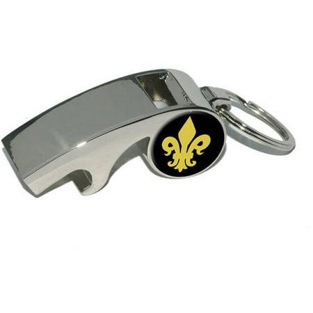 Fleur de Lis, Gold on Black, Plated Metal Whistle Bottle Opener Keychain Key Ring