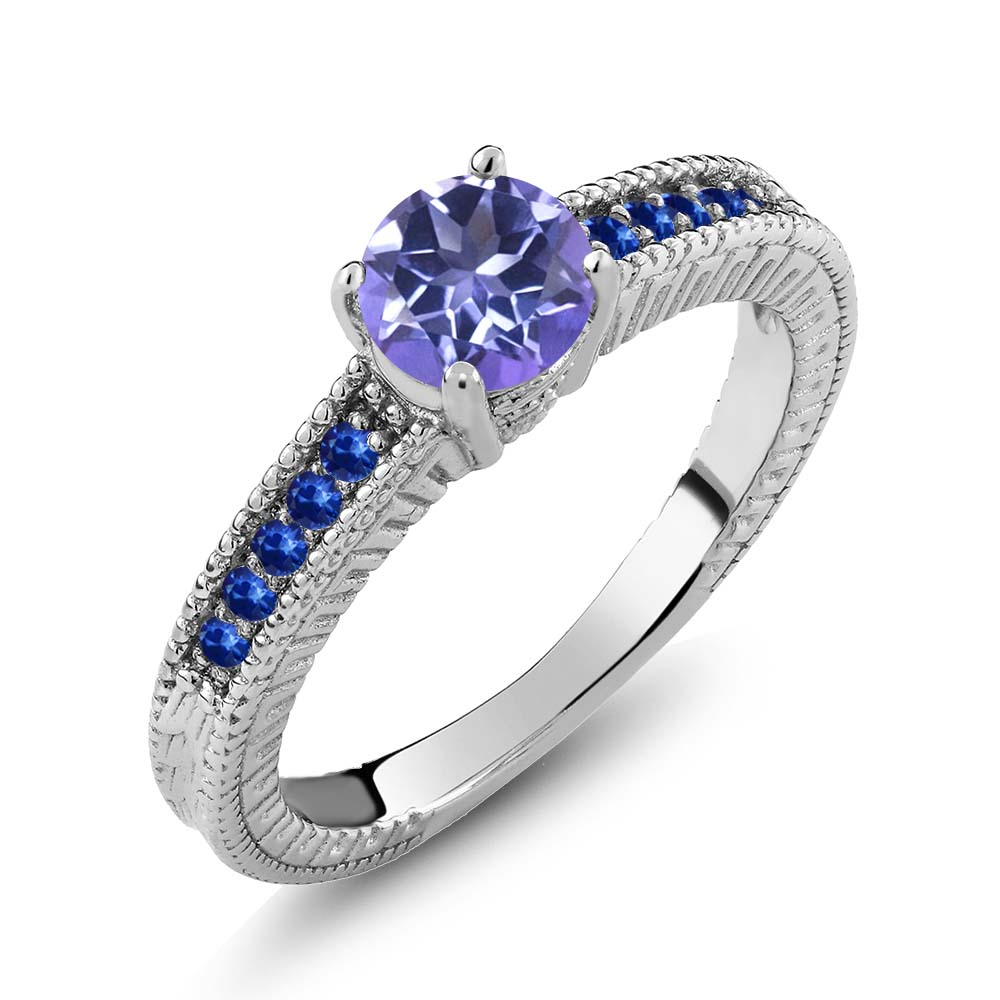 1.20 Ct Round Purple Blue Mystic Topaz Blue Sapphire 925 Sterling Silver Ring