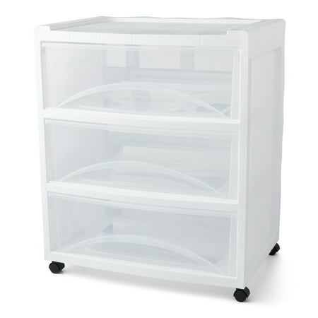 Mainstays Rolling Three-Drawer Storage Organizer Cart, White/Clear