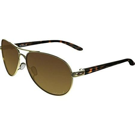 Oakley OO4079-11: Feedback Women's Polarized Sunglasses Gold Shiny/Brown Metal