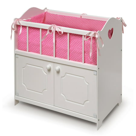 Badger Basket Storage Doll Crib with Bedding and Free Personalization Kit - White - Fits American Girl, My Life As & Most 18