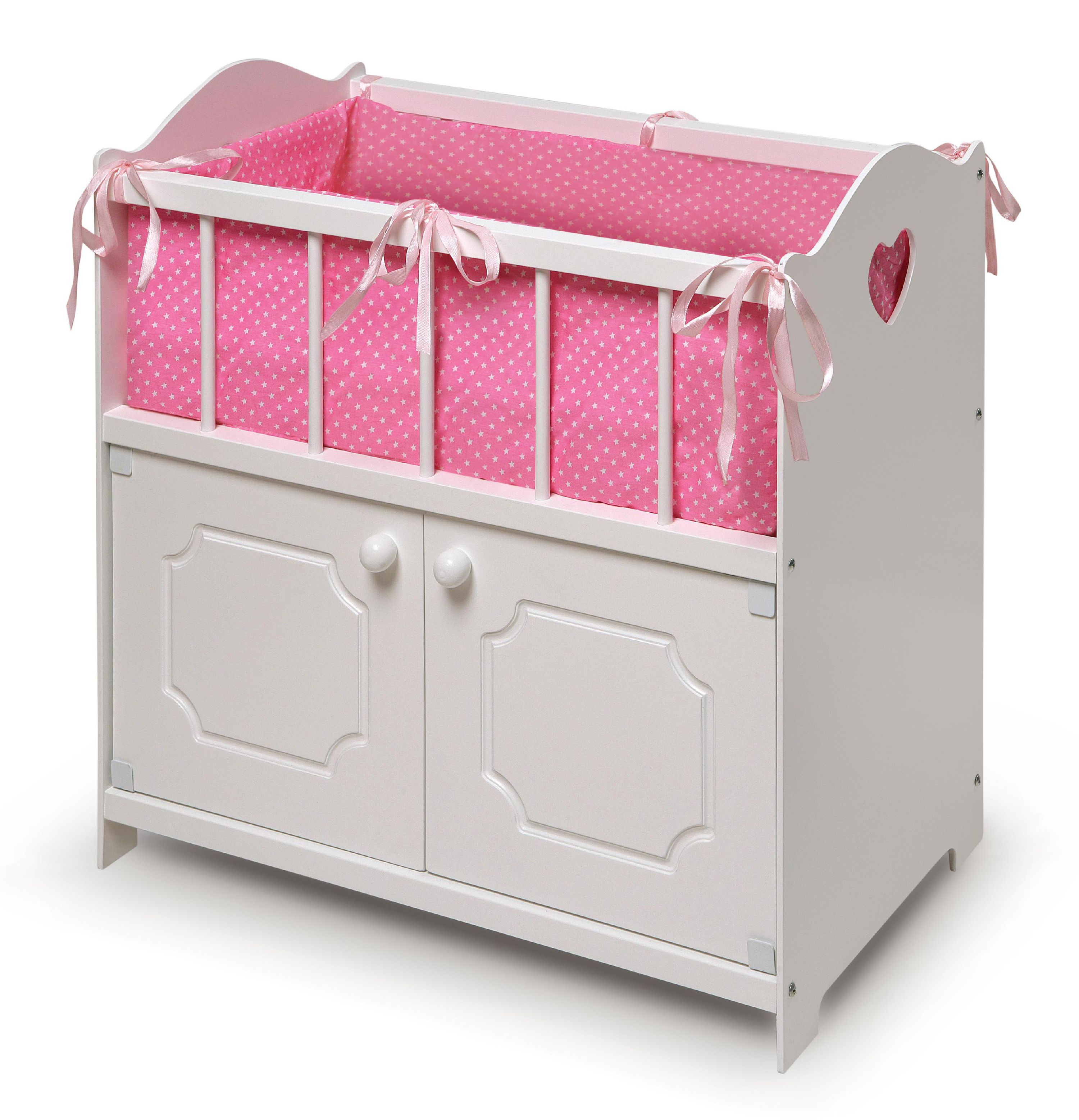 "Badger Basket Storage Doll Crib with Bedding - White - Fits American Girl, My Life As & Most 18"" Dolls"