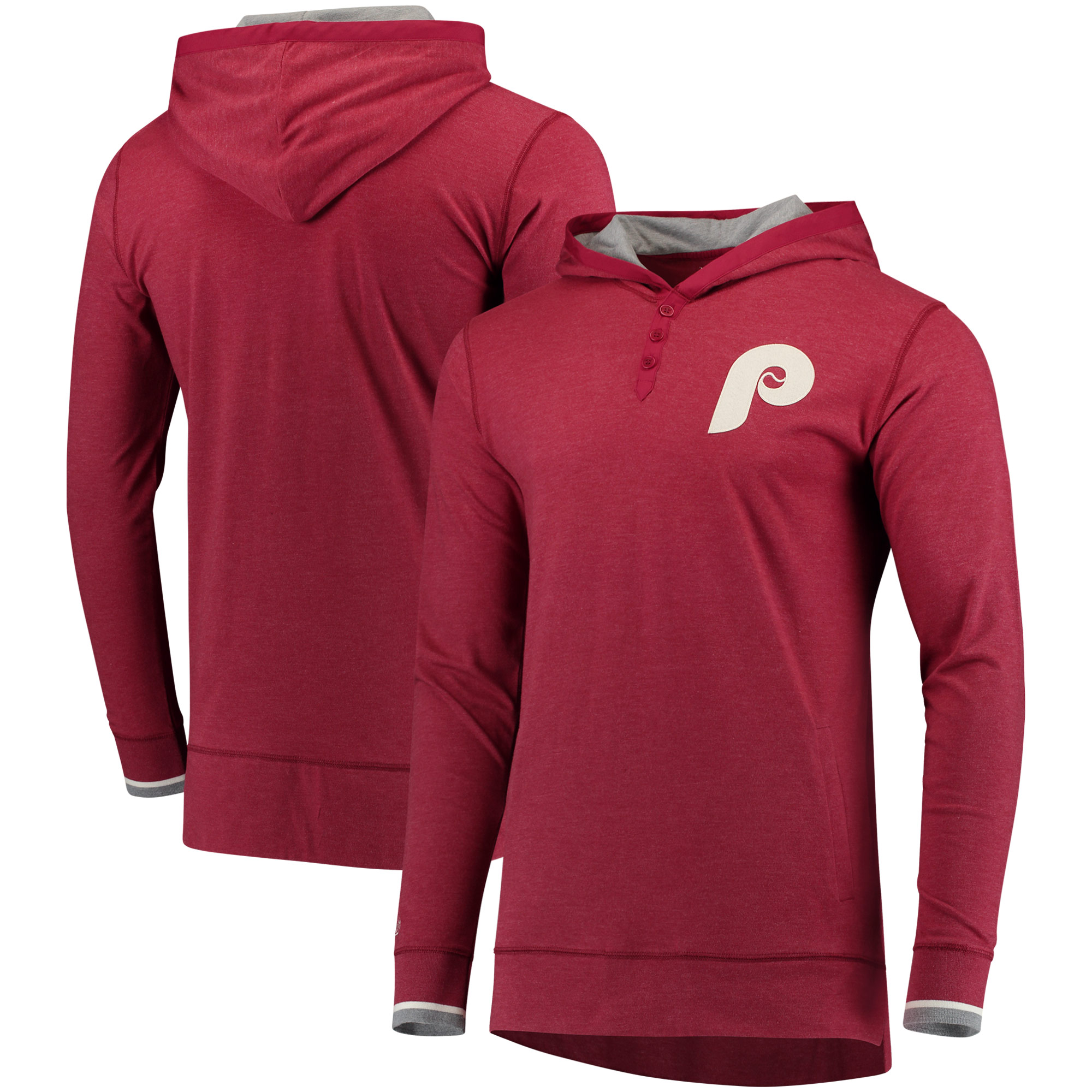 Philadelphia Phillies Mitchell & Ness Seal The Win Long Sleeve Hooded T-Shirt - Maroon