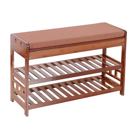 Zimtown Bamboo Shoe Rack Bench Entryway Organizer Seat Hide Storage with Cushion