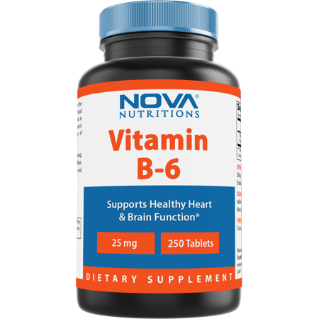 Nova Nutritions Vitamin B6 25 mg - Supports Healthy Nervous System, Metabolism & Cell Health - 250 Tablets