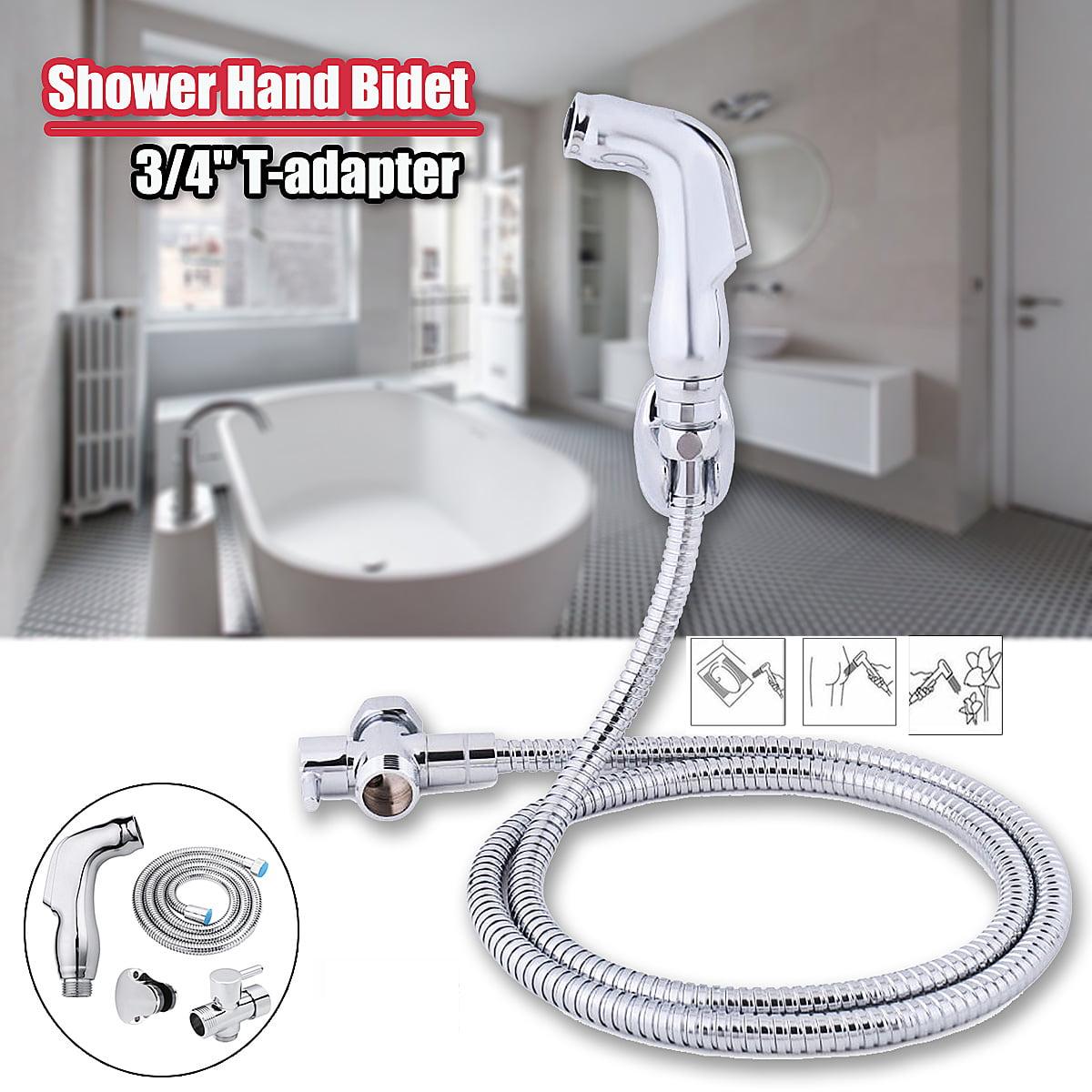 ABS Faucets Hand Held Bidet Shower Bathroom Spray 3/4  T-adapter Full Set Sprayer Jet