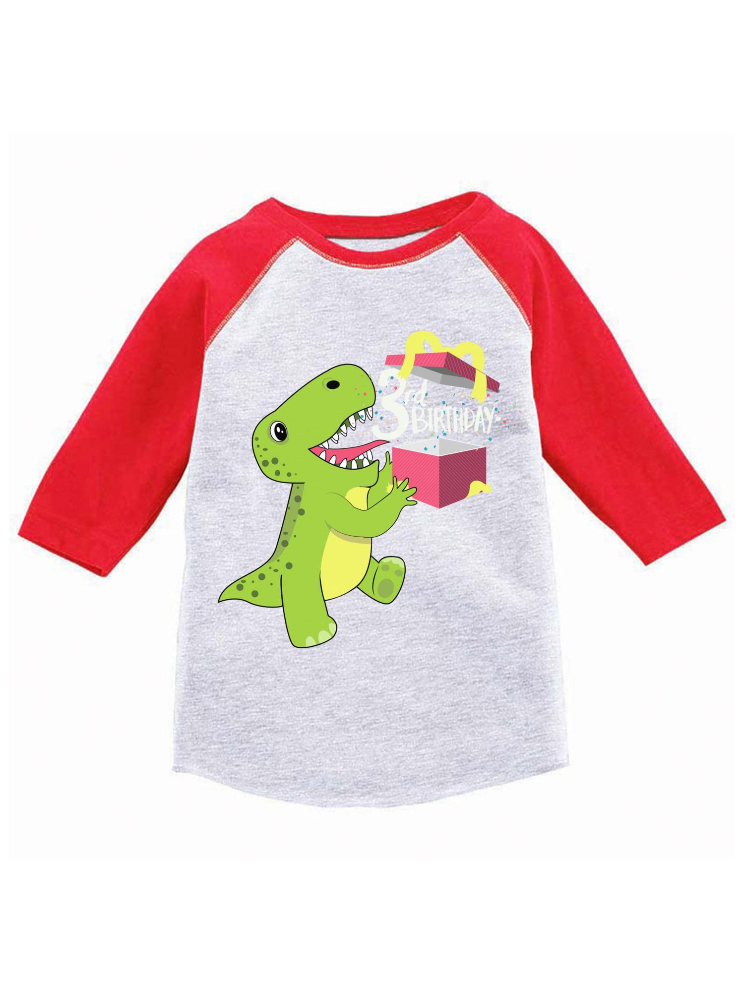 Awkward Styles Dinosaur Birthday Toddler Raglan Jersey Shirt For 3 Year Old 3rd Gifts Boy Baseball Girl T