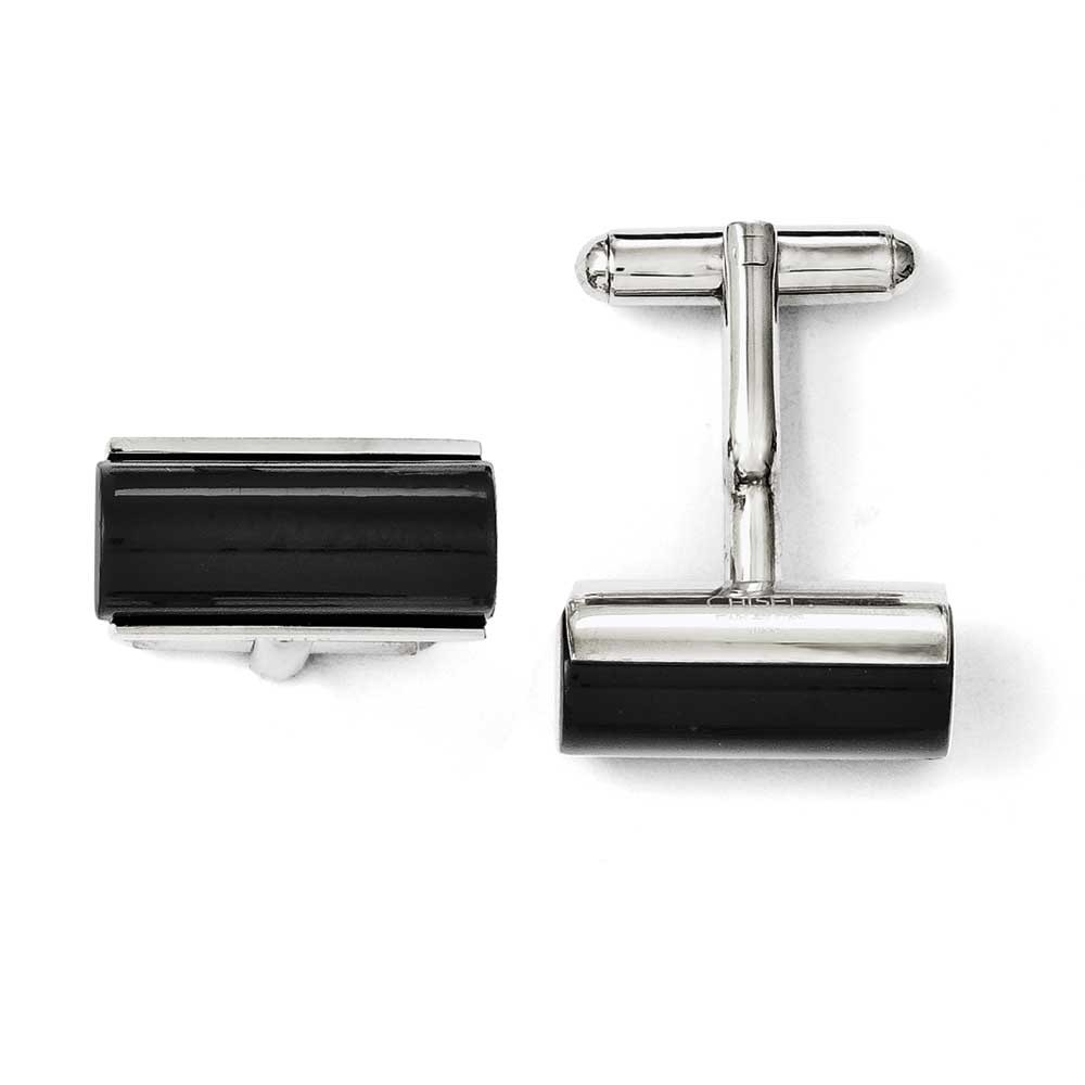 Stainless Steel Black Agate Polished Cuff Links