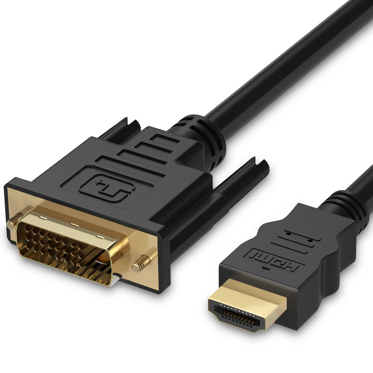 HDMI to DVI Cable (15 FT), Fosmon DVI-D to HDMI Cord Bi-Directional Gold Plated High Speed HDMI (Type A) to DVI for HDTV, Apple TV, Smart TV, PS3/PS4, Xbox One X/One S/360, Wii U