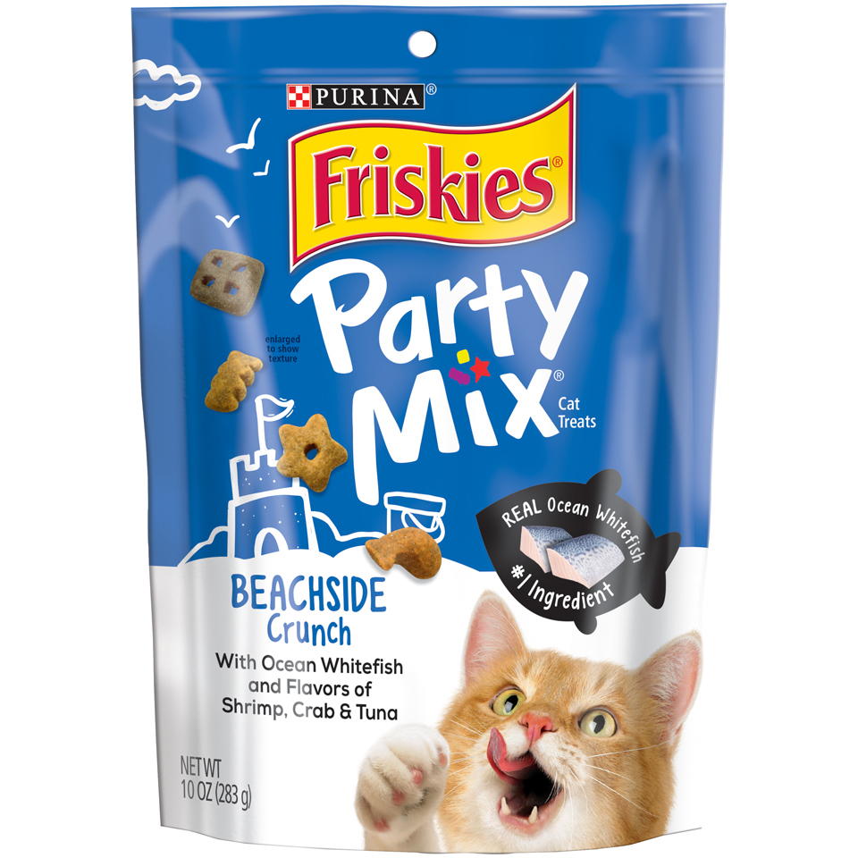 (2 Pack) Purina Friskies Party Mix Beachside Crunch Adult Cat Treats, 10 oz. Pouch