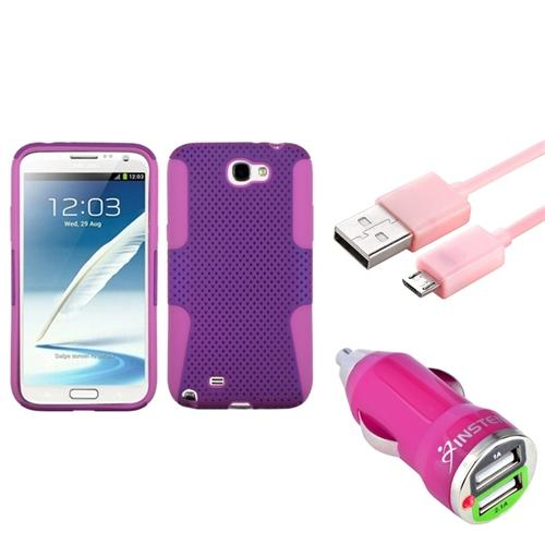 Insten Pink/Purple Hybrid Case+3FT Cable+Dual USB Charger For Samsung Galaxy Note 2
