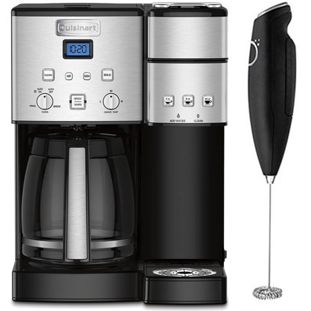 Electric With Timer Coffee Maker - Cuisinart 12-Cup Coffee Maker and Single-Serve Brewer Stainless Steel (SS-15) with Deco Gear Milk Frother - Handheld Electric Foam Maker For Coffee, Latte, Cappuccino