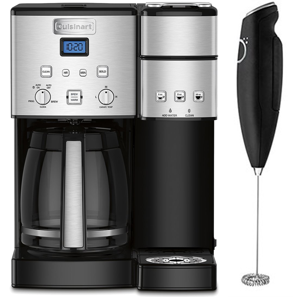 Cuisinart 12-Cup Coffee Maker and Single-Serve Brewer Stainless Steel (SS-15) with Deco Gear Milk Frother - Handheld Electric Foam Maker For Coffee, Latte, Cappuccino