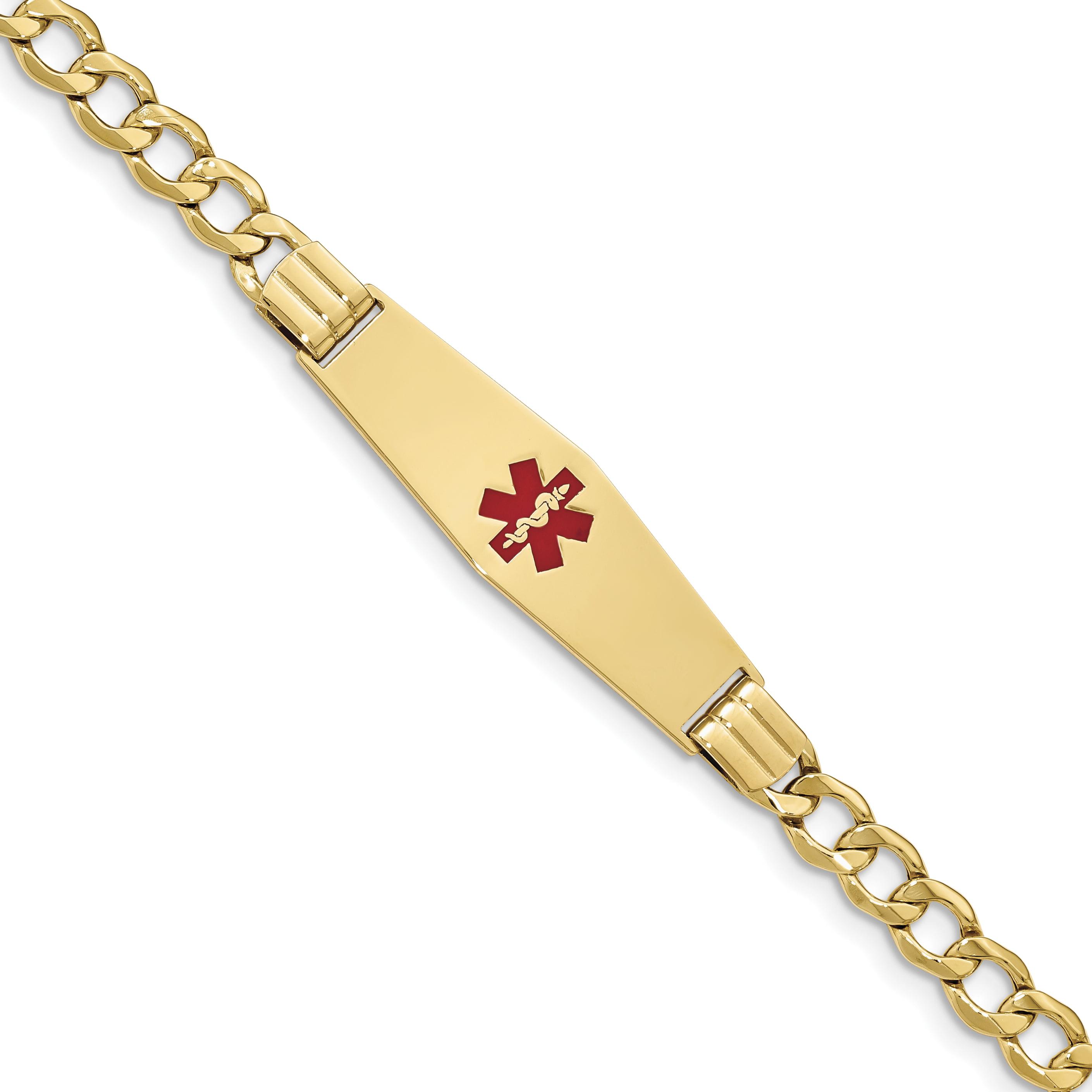 14K Medical Soft Diamond Shape Red Enamel Curb Link 5.9mm ID Bracelet by Core Gold