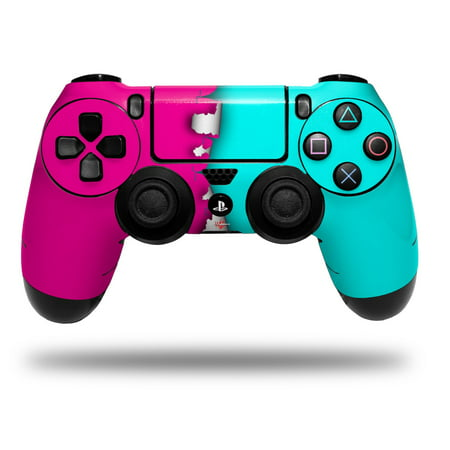 Skin Wrap for Sony PS4 Dualshock Controller Ripped Colors Hot Pink Neon Teal (CONTROLLER NOT