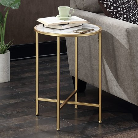 Faux Marble Flooring - Convenience Concepts Gold Coast Faux Marble Round End Table