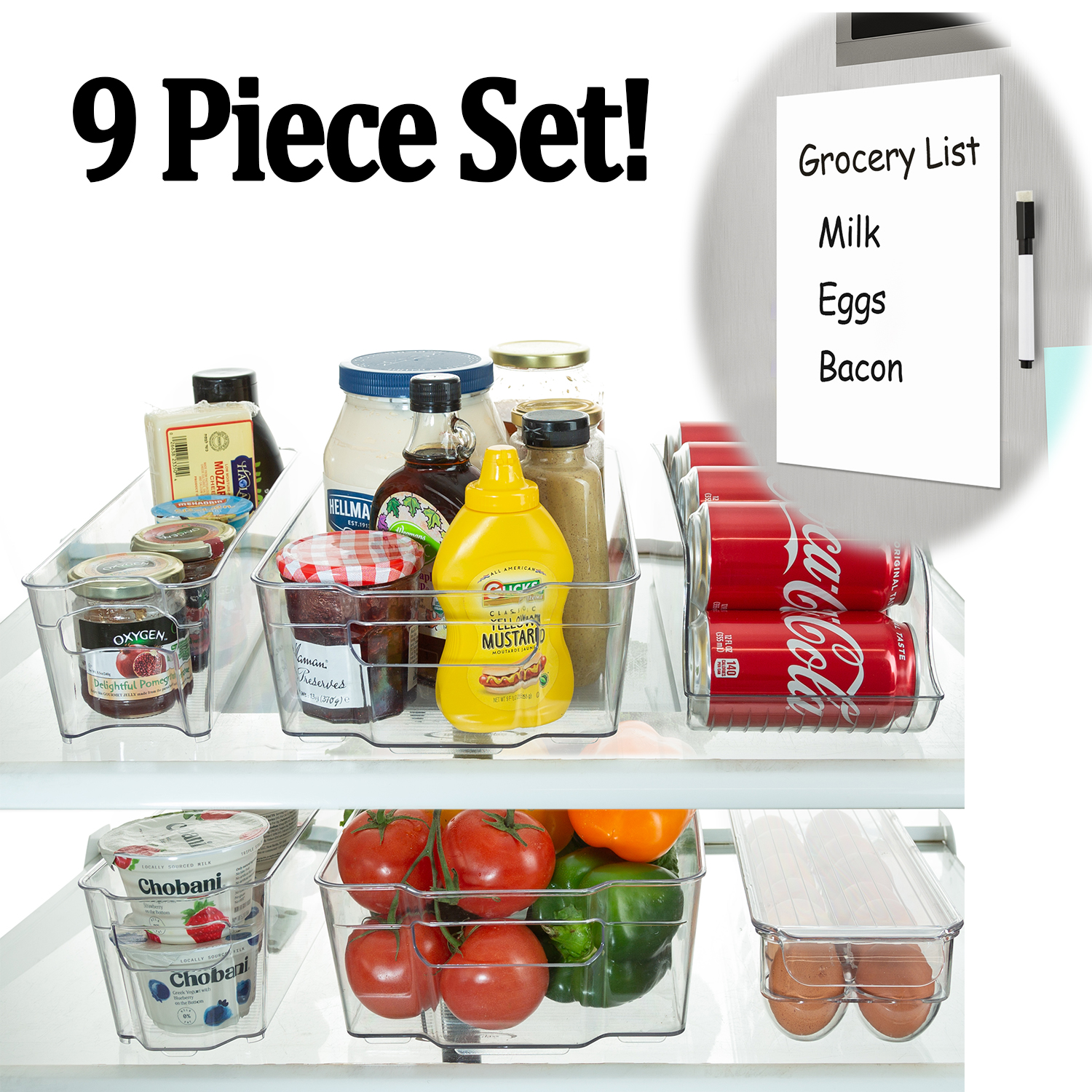 Refrigerator Organizer Bins - Stackable Storage Containers For Fridge, Freezer, Pantry, Kitchen, - 9 Piece Set Includes Can Dispenser And Egg Tray - Fridge White Board Magnet With Marker Included