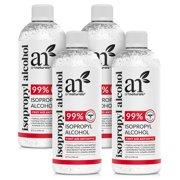 ArtNaturals 99% Purity Isopropyl Alcohol - Rubbing Alcohol 32 oz (Pack of 4)