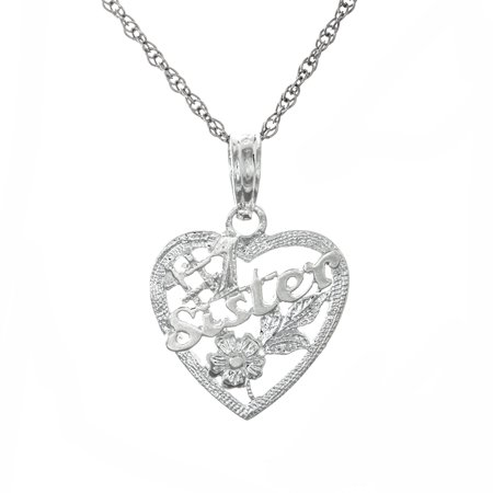 Million Charms 925 Sterling Silver Talking Pendant With Chain   1 Sister In Heart With Flowers
