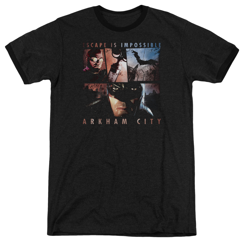 Arkham City Escape Is Impossible Mens Adult Heather Ringer Shirt