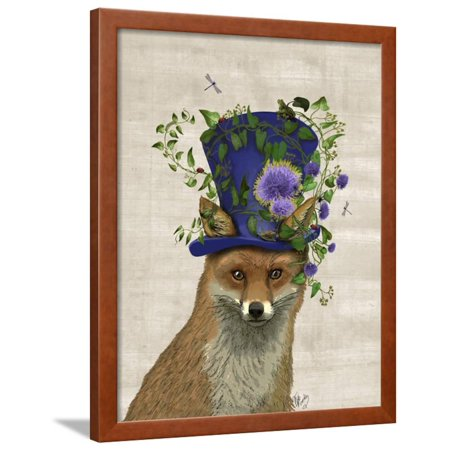 Fox Mad Hatter Framed Print Wall Art By Fab Funky (Black And White Mad Hatter)