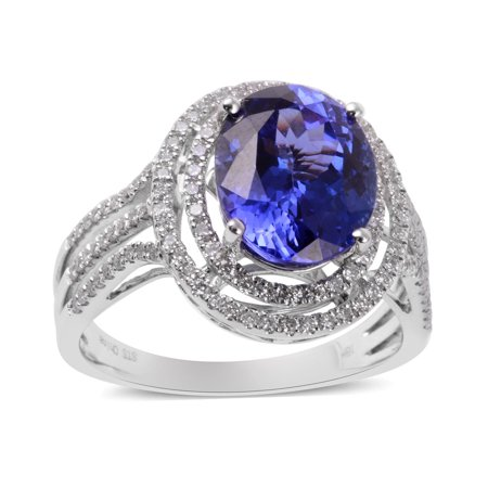 ILIANA AAA Premium Diamond Blue Tanzanite Solitaire Ring 18K White Gold Anniversary Women Jewelry Gift for Her Size 7 Ct 3.2 G-H Color SI1 Clarity