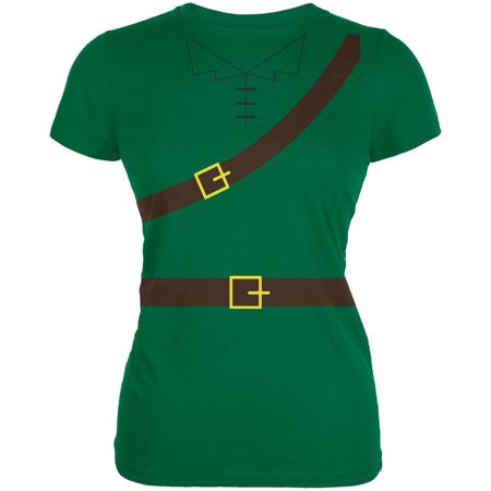 Halloween Robin Hood Costume Kelly Green Juniors Soft T-Shirt - Kelly Karloff Halloween