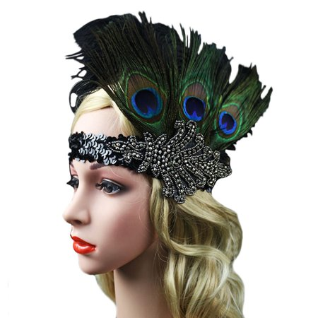 Headwear Headband - Fascigirl Peacock Feather Fascinator Headband Sequin Party Headwear for Women