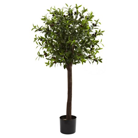 Nearly Natural 4' Olive Topiary Silk Tree