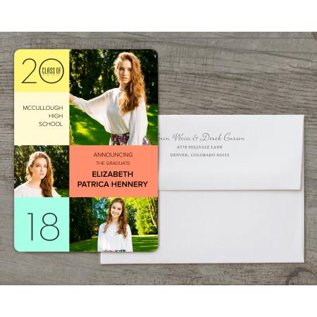 personalized graduation announcement color block mosaic 5 x 7